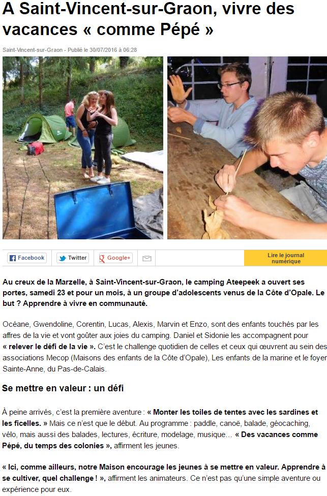 Ouest France 30 juillet 2016